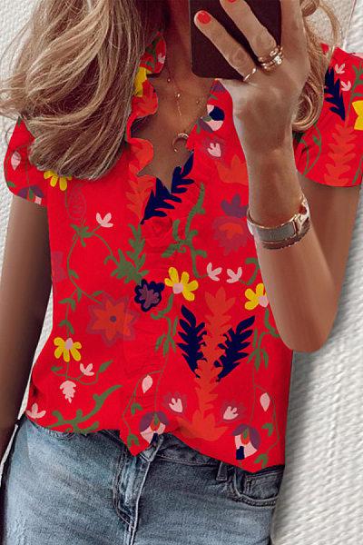 Ruffle Neckline Floral Short Sleeve Blouse
