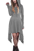 Hooded  Asymmetric Hem  Plain  Long Sleeve Skater Dresses