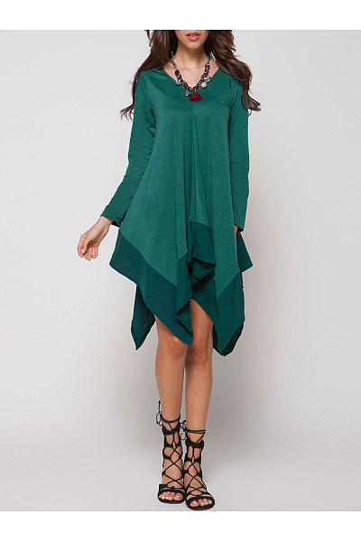V-Neck Plain Asymmetric Hem Shift Dress
