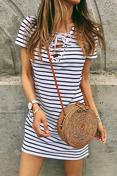 V Neck  Lace Up  Stripes Casual Dresses