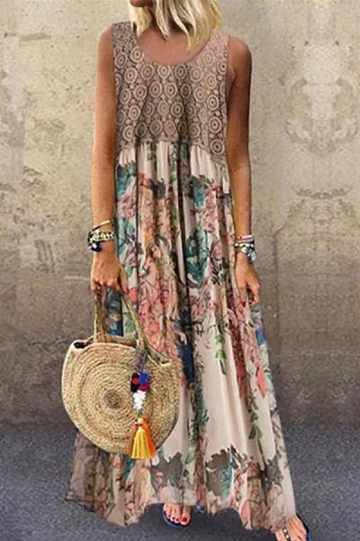 Plus Size Printed Stitching Round Neck Sleeveless Maxi Dress