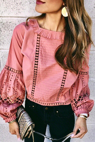 Round Neck Lantern Sleeve Casual Blouse