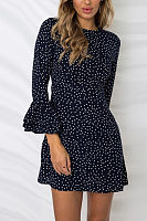 Round Neck  Dot  Bell Sleeve  Long Sleeve Casual Dresses