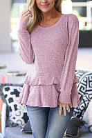 Round Neck Long Sleeve Ruffles Casual Knitting T-Shirts