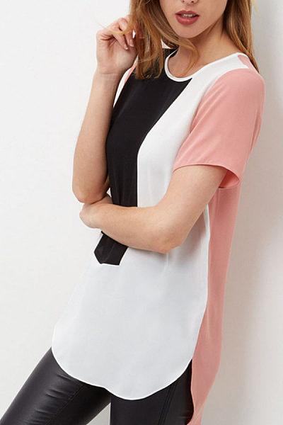 Round Neck  Asymmetric Hem  Color Block T-Shirts