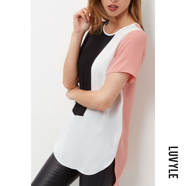 Black Round Neck Asymmetric Hem Color Block T-Shirts Black Round Neck Asymmetric Hem Color Block T-Shirts
