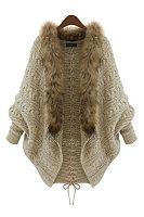 Fur Collar Collarless  Plain  Batwing Sleeve Cardigans