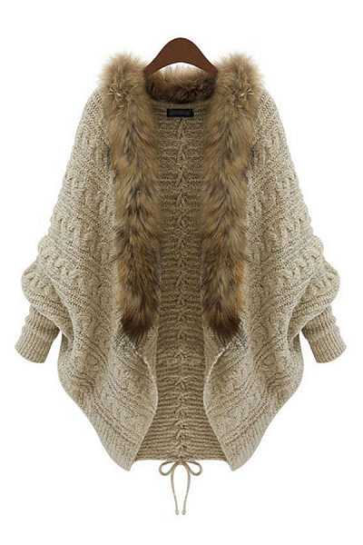 Fur Collar Collarless  Plain  Batwing Sleeve Cardigans
