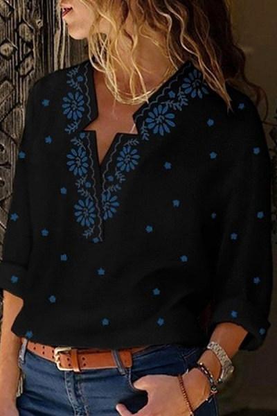 Casual V-Neck Star Print Long Sleeve Shirt
