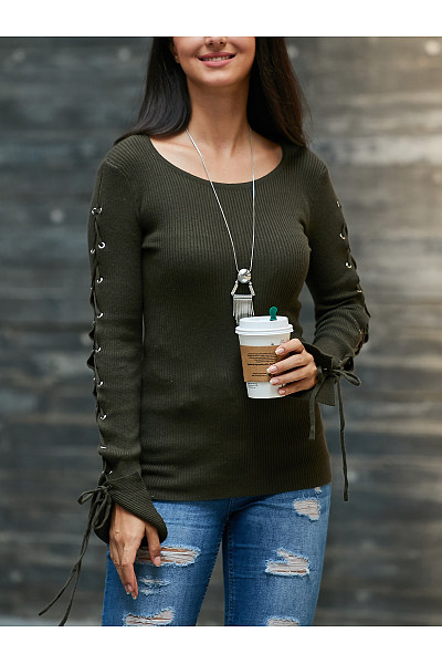 Round Neck  Drawstring  Plain Sweaters