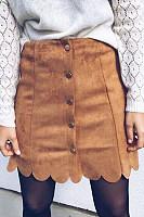 Asymmetric Hem Single Breasted  Plain Skirts