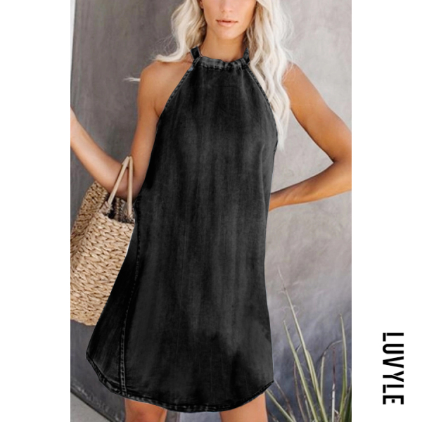 Black Casual Sleeveless Pure Color Dress Black Casual Sleeveless Pure Color Dress