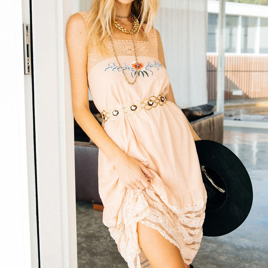 Hippy Chic Dress in peach rose with lace details and embroidered flowers