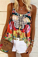 Boho Printed Sleeveless Top