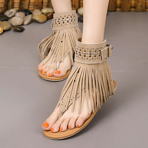 Bohemian Velvet Ankle Strap Peep Toe Gladiator Socofy Flat Sandals