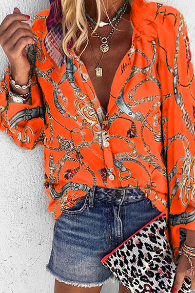 A Lapel Printed Casual Blouse