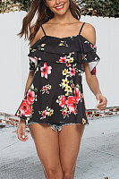 Spaghetti Strap  Flounce  Floral Printed T-Shirts