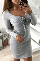 Round Neck  Lace Up  Plain  Long Sleeve Bodycon Dresses