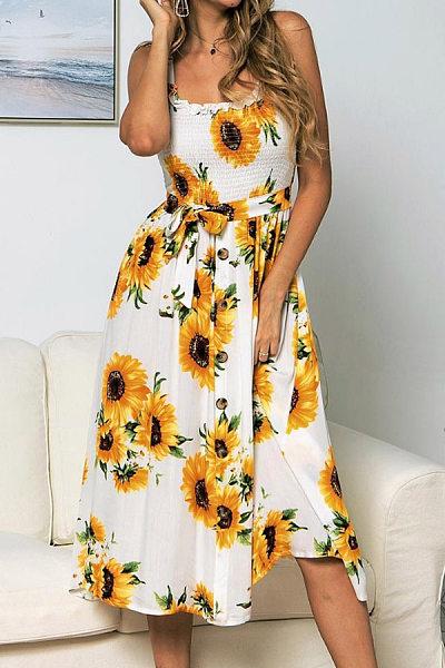 Vacation Sling Belt Printed Maxi Dress