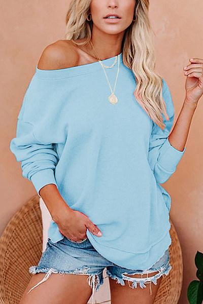 Open Shoulder Collar Loose Sweatshirt