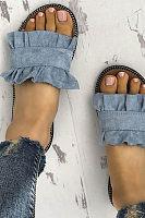 Plain Flat Peep Toe Travel Casual Comfort Slippers