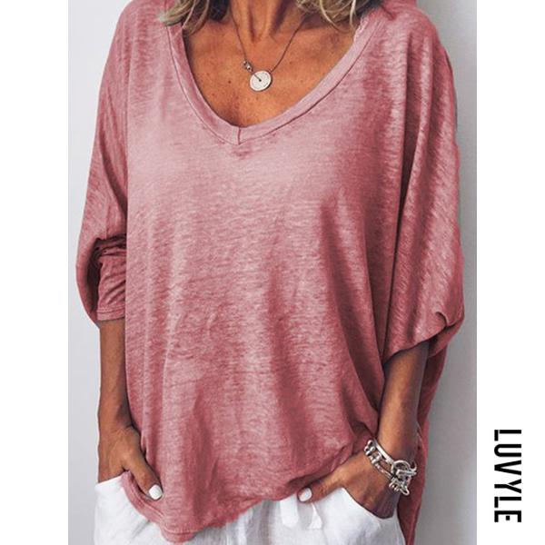 Pink Peach Heart Tie Batwing Sleeve T-Shirt Pink Peach Heart Tie Batwing Sleeve T-Shirt