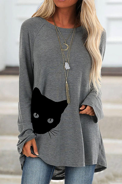Round Neck Long Sleeve Cat T-shirt
