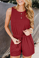 Round Neck  Decorative Buttons  Plain  Sleeveless  Playsuits