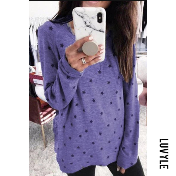 Purple Plus Size Round Neck Long Sleeve Star T-Shirt Purple Plus Size Round Neck Long Sleeve Star T-Shirt