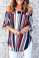 Off Shoulder  Side Slit  Color Block Vertical Striped T-Shirts