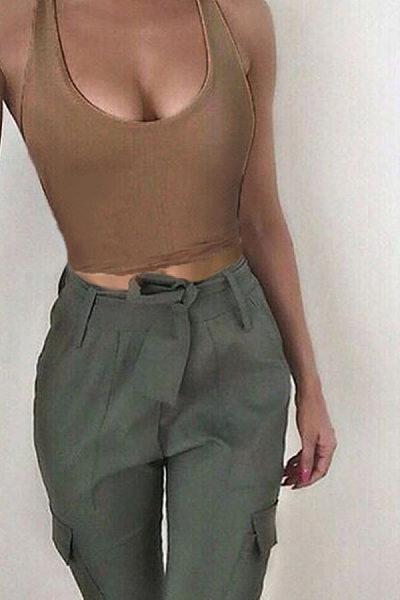 Halter  Backless  Exposed Navel  Plain  Vests