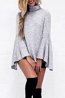 Turtle Neck  Asymmetric Hem  Bell Sleeve T-Shirts