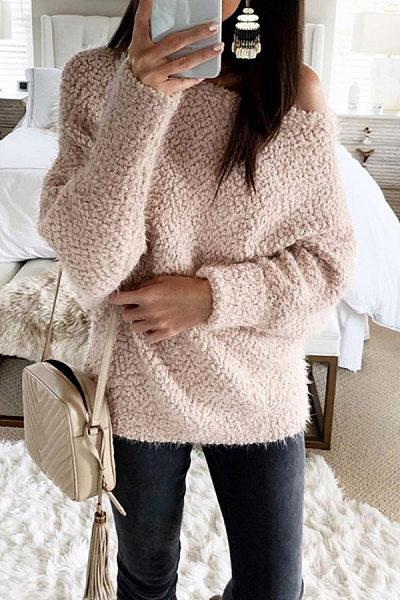 Single Shoulder Collar Plain Sweatshirt
