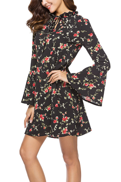 Crew Neck  Drawstring  Cascading Ruffles  Floral Printed  Bell Sleeve  Long Sleeve Casual Dresses