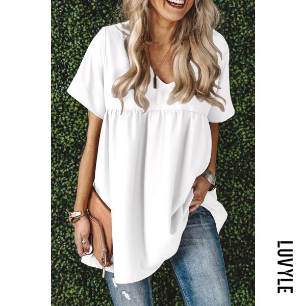 Loose solid color V-neck short sleeve T-shirt