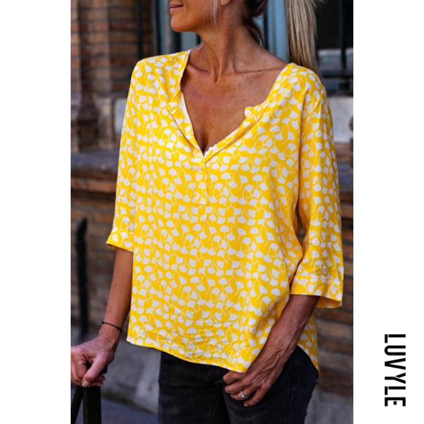 Yellow V Neck Printed Casual T-Shirts Yellow V Neck Printed Casual T-Shirts