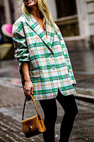 Fashion Loose-Fitting Long Sleeve Plaid Blazer