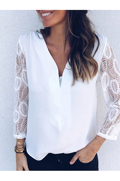 Casual V-Neck Lace Long Sleeve T-Shirt