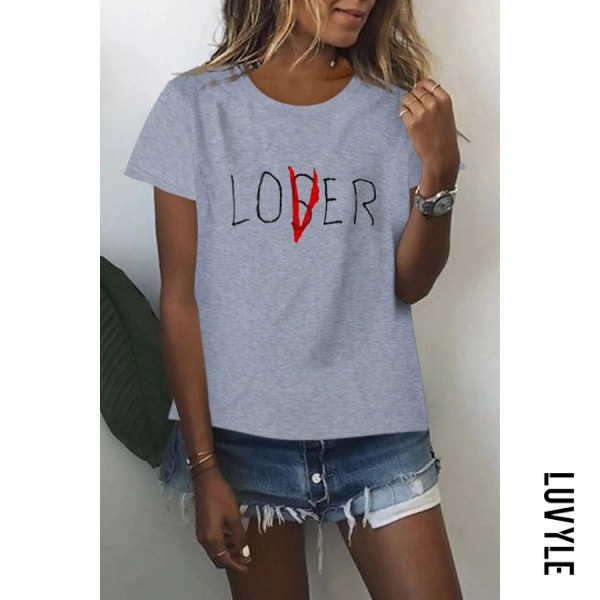 Gray Casual Letter Round Neck T-Shirt Gray Casual Letter Round Neck T-Shirt