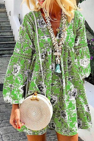V Neck Lantern Sleeve Floral Casual Dress