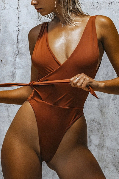 Sexy Low-Cut One-Piece Swimsuit