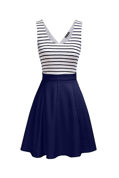 Round Neck  Patchwork  Striped  Sleeveless Skater Dresses