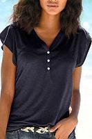 V Neck  Single Breasted  Plain Print T-Shirts