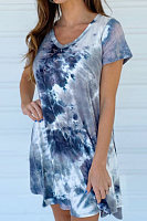 Fashion - gradient tie-dye loose-sleeved dress for women