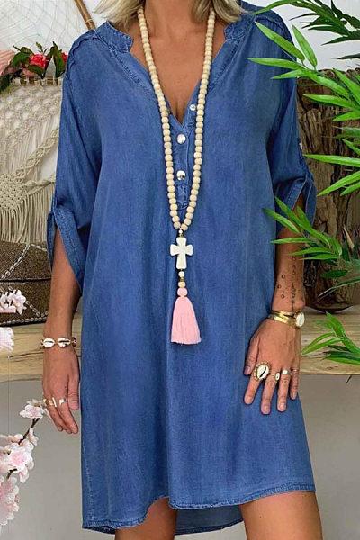 Casual V Neck Plain Denim Dress