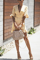 Deep V Neck  Belt  Gingham  Short Sleeve Casual Dresses