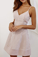 Spaghetti Strap  Striped  Sleeveless Skater Dresses