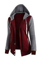 Casual Hooded Pocket Color Block Coat