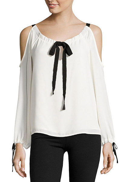 Open Shoulder Round Neck  Bowknot  Lantern Sleeve Blouses