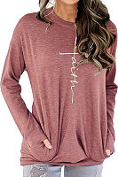Round  Neck  Casual  Letters  Long Sleeve  T-Shirt